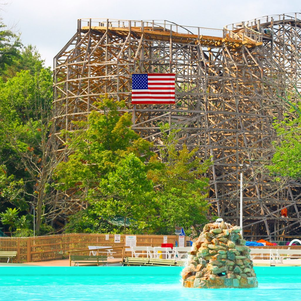Crystal Pool and Twister Roller Coaster at Knoebels