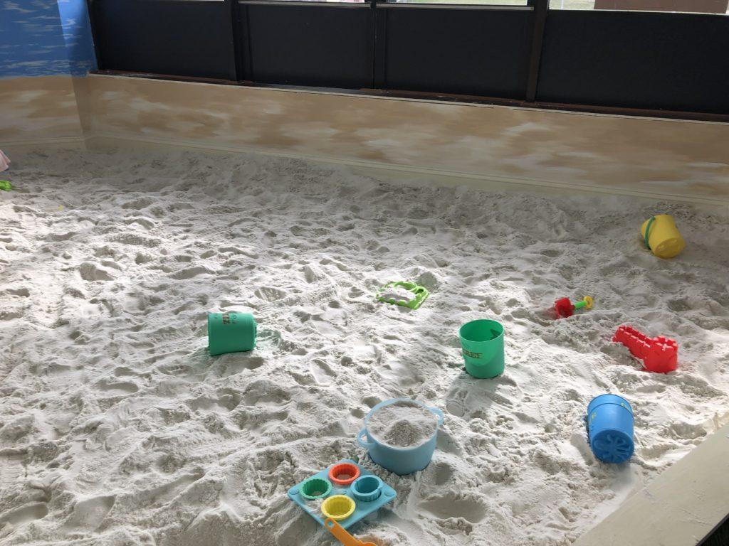 Large sandbox at Totsville