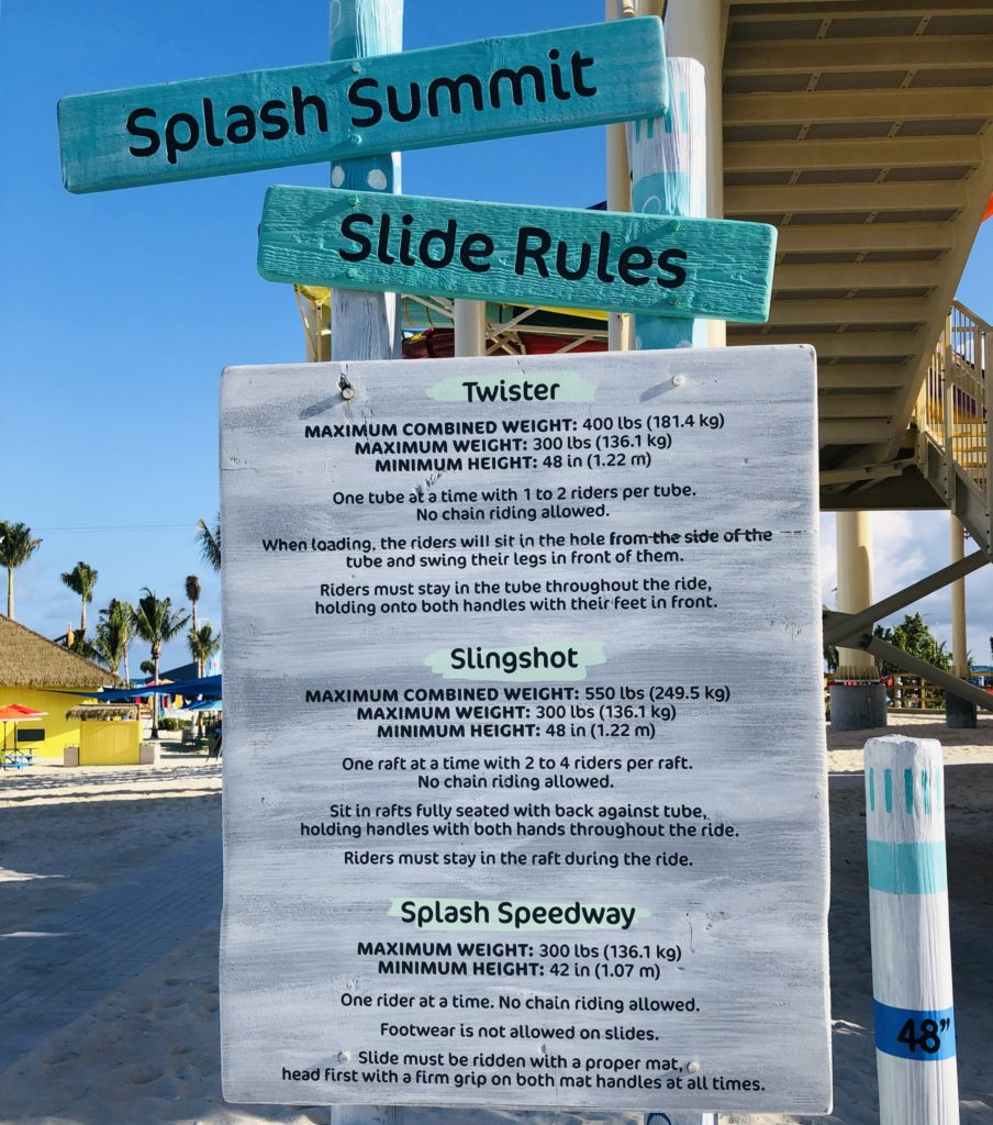 Water Slide Rules CocoCay