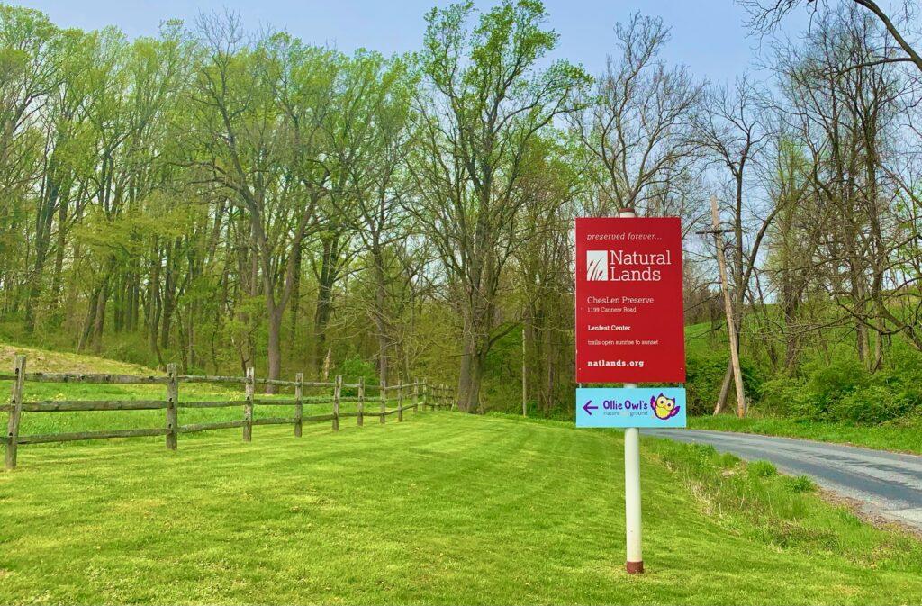 ChesLen Nature Preserve Entrance Sign