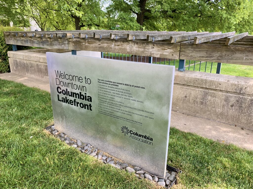 Columbia Lakefront Sign