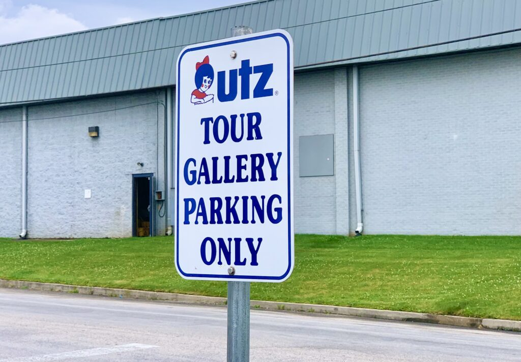 UTZ Factory Tour Parking Sign